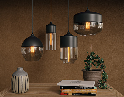 Visualization of lamps with a cozy interior