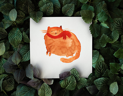 Watercolor illustration. Cats.