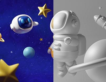Free in Space - 3D Render