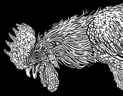 Rooster, skull and hourglass