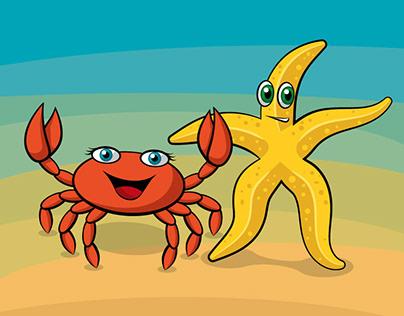 Characterdesign Starfish and Crab