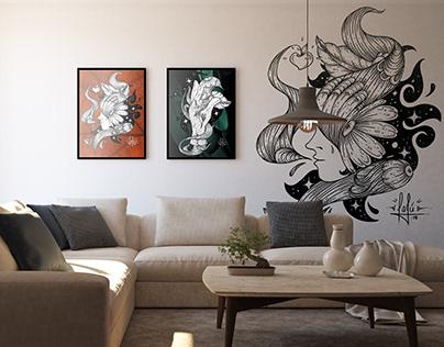 Decoração e quadros - Estilo Linework