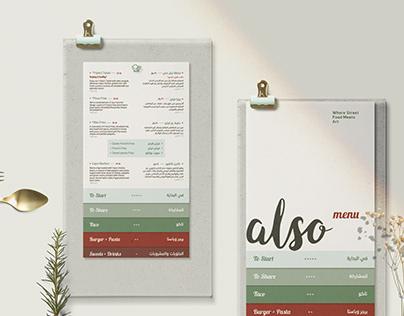 Also Restaurant   Menu Copywriting & Design
