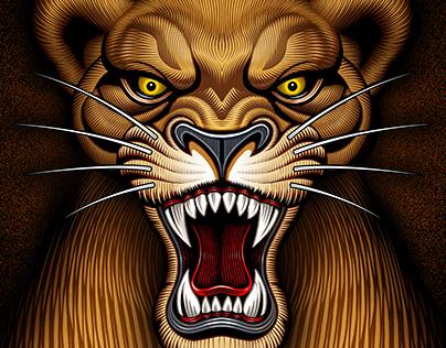 "Mat Beast ""Lion and Lioness"" Rash guard illustration"