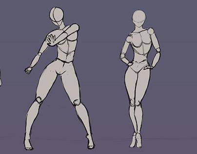 Sketch girl poses