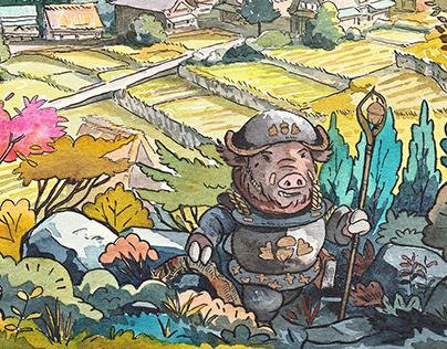 Majik - boar mage illustrations