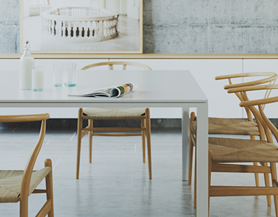 minimalist kitchen / wegner chairs