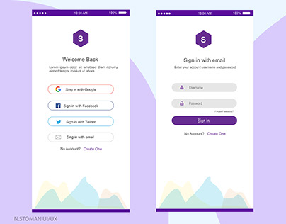 Mobile App Sign In & Create Account Pages UI/UX Design.