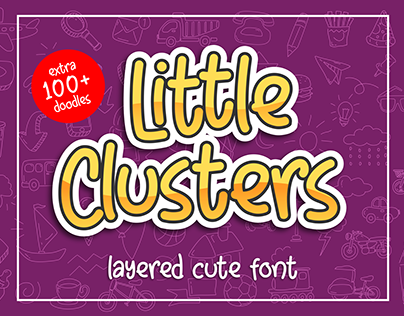 Little Clusters -layered cute font with doodles-