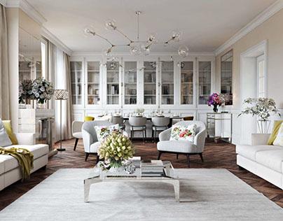 Interior Rendering for an Elegant Living Room Design