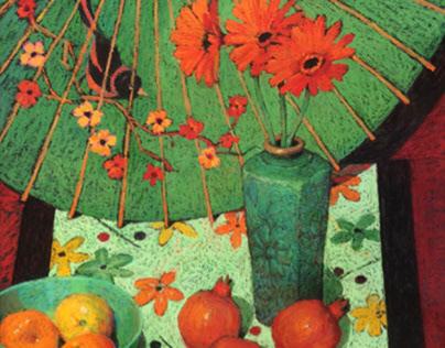 Oriental Green Vase with Gerberas