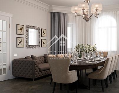 Дизайн интерьера столовой и кухни
