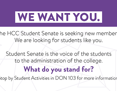 Student Senate recruitment card