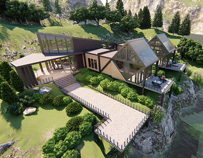 Modular cottage house in the Carpathian Mountains
