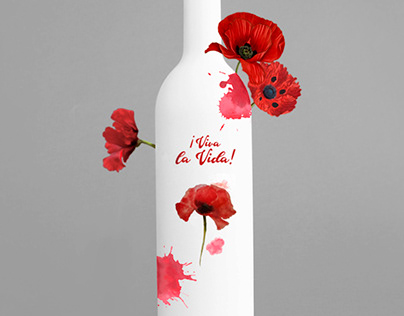 """""""¡Viva la Vida!"""" Vino - Mockup - Ilustración - Flores"""