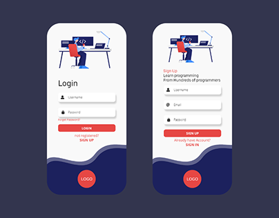 Login and Register screen Design Concept