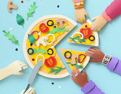 Pizza Party   Paper art