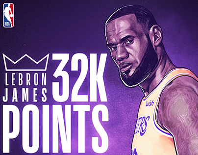 NBA ILLUSTRATION -LeBRON JAMES 32K POINTS MILESTONE