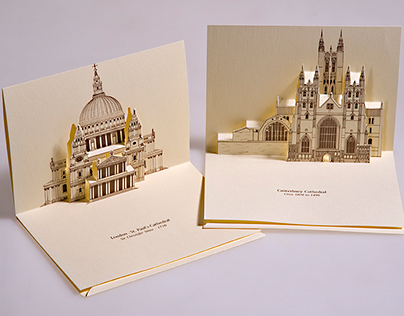3D Popup Kirigami postcards with European monuments
