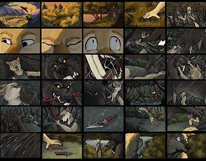 Wishapoosh & Coyote Story Board, Animatic, Color Script