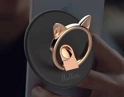 Mallow, a cat shaped smartphone ring
