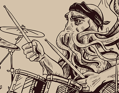 Cthulhu on the drums