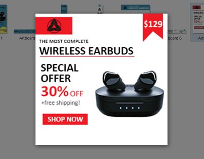 WIRELESS EARBUDS BANNER ADS