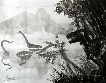 """""""Pangea Ink"""" - ink wash dinosaur sketches"""