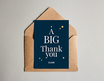 'A BIG Thank You' card design for Cluse