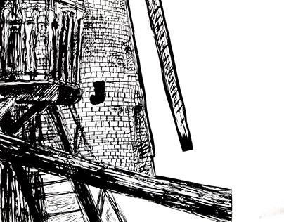 Wiatrak, grafika warsztatowa, linoryt