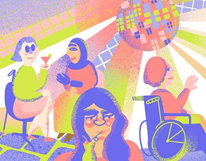 Women Disability Feminism. Stickers