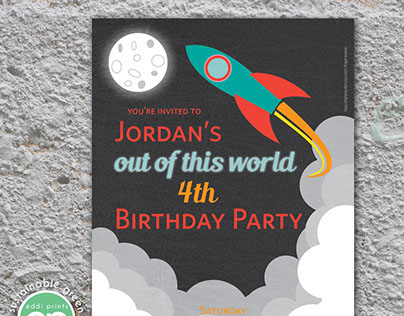 Space Birthday Invitation & Thank You