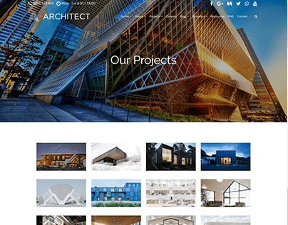 Projects 4 Columns Page - Architect WordPress theme
