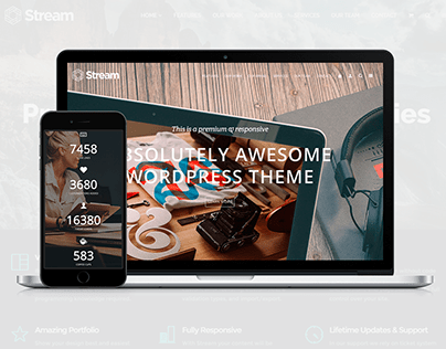 Stream landing Page WordPress Theme by Visualmodo