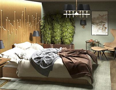 Спальня с выходом на лоджию
