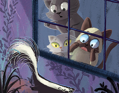 Cats and Skunk