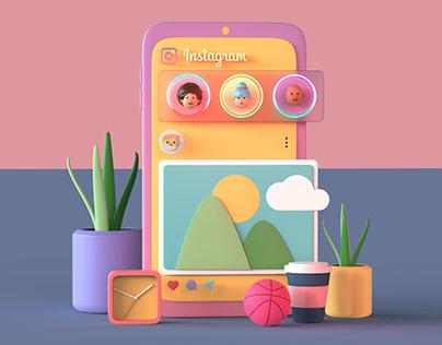 Instagram - Fun 3D UI Illustration