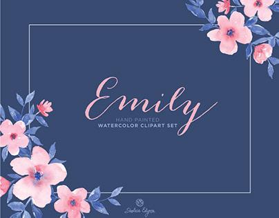 Emily Watercolor Floral Clipart Set