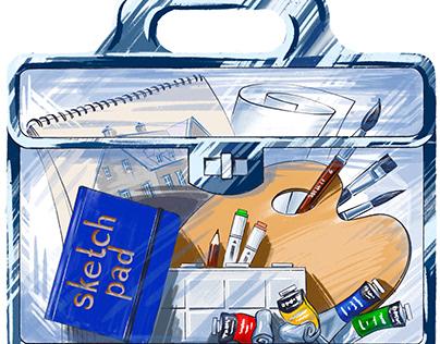 Illustration of artist bag in Procreate