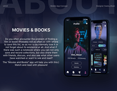 "Mobile App Concept ""Movies & Books"""