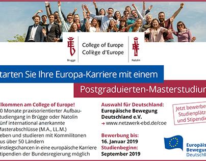 Anzeigen und Banner für das College of Europe