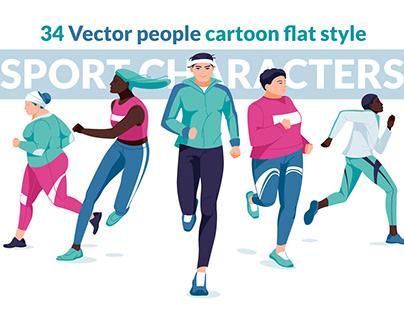 Vector set of sport people characters. Flat design.