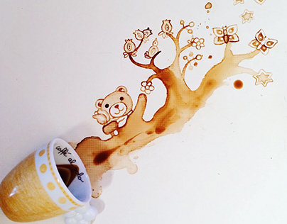 Coffee Art Painting Teddy