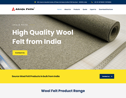 A Glimpse of Ahuja Felts Co. website by Kazi Solutions.