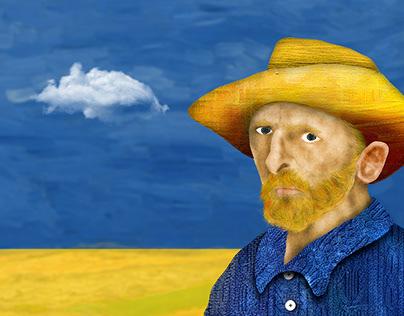 Vincent van Gogh Portrait drawing steps.