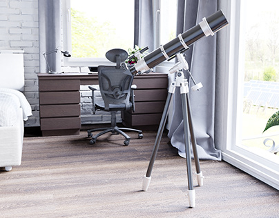 bedroom with telescope