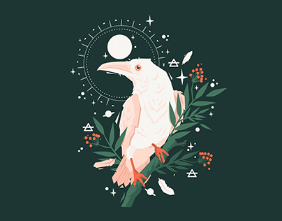 Celestial Messenger White Raven Design