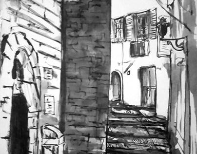 Grasse, ink drawings