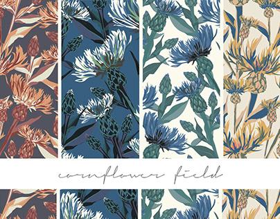 Cornflower field - seamless pattern collection