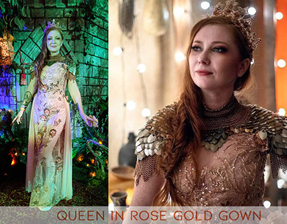 Queen in Rose Gold Gown and Accessories